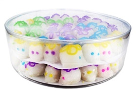 Picture of Miniature Sugar Candy Skulls in a plastic container box - Item No. 10069-mini