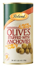 Picture of Anchovy Olives - Roland Olives Stuffed with Anchovies - 24 oz - Item No. 13206