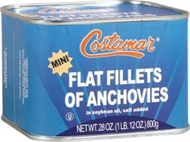Picture of Costamar Wild Caught Mini Flat Fillets of Anchovies in Soybean Oil 28 oz - Item No. 13500