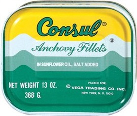 Picture of Consul Wild Caught Anchovy Fillets in Sunflower Oil 13 oz- Item No.13501