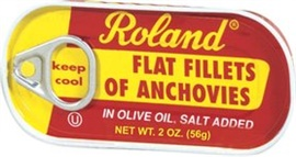 Picture of Roland Flat Fillets of Anchovies in Olive Oil, Salt Added 2 oz - Item No. 13508