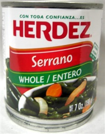 Picture of HERDEZ - Serrano Peppers - Chiles Serranos Herdez 7 oz (Pack of 3)- Item No.1488