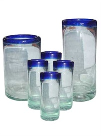 Picture of Hand Blown Glass with Blue Trim from Mexico - 12 piece set - Item No. 14va52234-5-6
