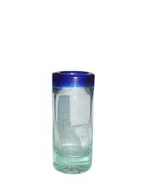Picture of Hand Blown Tequila Shot Glass with Blue Trim from Mexico - Item No. 14va52236