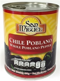 Picture of Chile Poblano Entero / Whole Poblano Peppers 27.5 oz by San Miguel - Item No. 15120