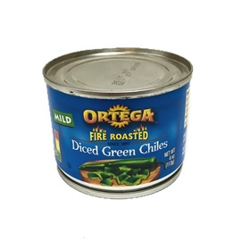 Picture of Ortega Fire Roasted Dice Green Chiles - Item No. 39000-01021