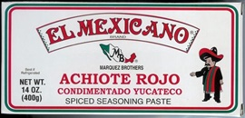 Picture of Achiote Rojo Condimentado Yucateco - Spiced Seasoning Red Achiote Paste by El Mexicano 14 oz - Item No. 42743-20045