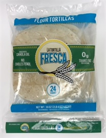 "Picture of Flour Tortillas 8"" Size by La Tortilla Fresca - Two Dozen Fajita Size Flour Tortilla made with Canola Oil in Pack - Item No. 44946-00179"