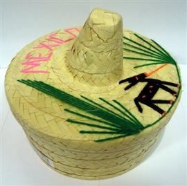 Picture of Tortillero de Sombrero Mediano / Palm Tortilla Warmer Basket (Hat Style) - Item No. 50409-87286