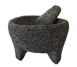 Picture of Molcajete de Piedra Negra - Black Lava Stone Mortar and Pestle - Item No. 50409-87421-s