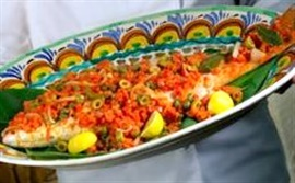 Picture of Red Snapper - Huachinango a la Veracruzana Mexican Recipe - Item No. 597-red-snapper-a-la-veracruzana