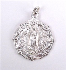 "Picture of Our Lady of Guadalupe Full Body Pewter Medal - 2"" H x 1 3/4 W - Item No. 61033"