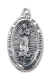"""Picture of Our Lady of Guadalupe Medal with 24"""" chain- Item No.61035"""