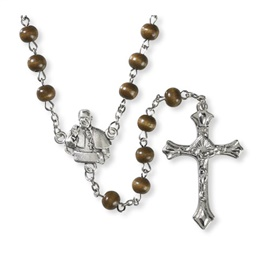 Picture of Pope Francis & St. Francis Brown Wood Rosary - Item No. 61043