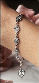Picture of Our Lady of Guadalupe Pewter Rose Rosary Bracelet - Item No. 61046