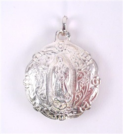 "Picture of Our Lady of Guadalupe Medal Pewter Medal - 2"" H x 1 3/4 W (inflated shaped) - Item No. 61049"