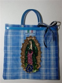 """Picture of Our Lady of Guadalupe Handbag with Small Handle 10.5"""" x 10.5 - Blue- Item No.61201"""