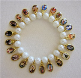 Picture of Religious Bracelet - Virgin Mary & Saints Bracelet with 21 religious medals - Item No. 62002