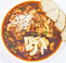 Picture of Tlalpeno Soup - Caldo Tlalpe�o Authentic Mexican Recipe - Item No. 627-caldo-tlalpenon