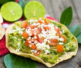 Picture of Vegetarian Tostadas with Avocado and Cheese Mexican Recipe - Item No. 649-vegetarian-tostadas-with-avocado-and-cheese