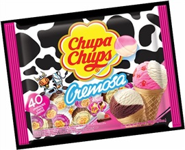 Picture of Chupa Chups Cremosa Strawberry & Cream/ Choco-Vanilla Lollipops 40 pieces - Item No. 76350-61031