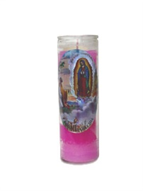 Picture of Pink Candle - Our Lady of Guadalupe Candle (Pack of 6)- Item No.8595