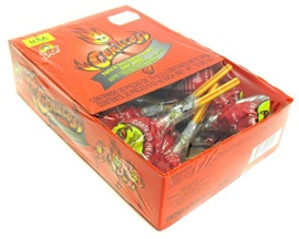 Picture of Indy Cerillos Spicy and Sour Candy Watermelon Lollipop 20 pieces- Item No.90203-01006