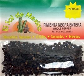 Picture of Whole Black Pepper by El Sol de Mexico .80 oz- Item No.9611