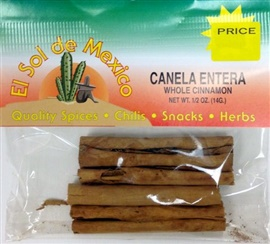 Picture of Cinnamon Sticks - Canela by El Sol de Mexico .50 oz - Item No. 9615
