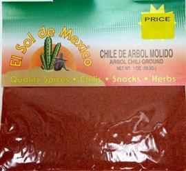 Picture of Chile de Arbol Molido Ground Chili by El Sol de Mexico 1 oz- Item No.9624
