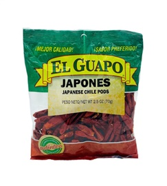 Picture of Japanese Red Dried Chile Pepper by El Sol de Mexico 2 oz. - Item No. 9656