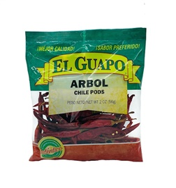 Picture of Dried Chile de Arbol pepper by El Guapo 2.25 oz. - Item No. 9660