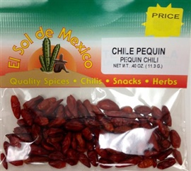 Picture of Chile Pequin Whole Dried Piquin Chili Pepper by El Sol de Mexico - Item No. 9695