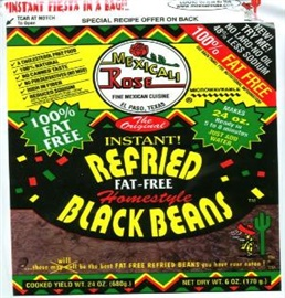 Picture of Mexicali Rose Low Fat Free Refried Black Beans - Instant 7 oz (Pack of 3)- Item No.99643-00003