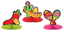 """Picture of Fiesta Mini Honeycomb Center Piece 5"""" Assorted pack of 3- Item No.ams-308900"""