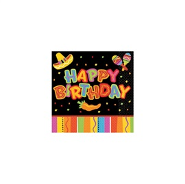 Picture of Fiesta Fun Happy Birthday Beverage Napkins Pack of 16- Item No.ams-5098201-bn