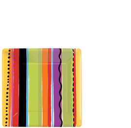 """Picture of Fiesta Strip Square Plates 7"""" Pack of 8- Item No.ams-549705-plt-7"""