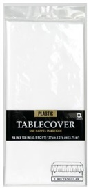 "Picture of Plastic Table Cover Frosty White 54"" x 108"" - Item No. ams-77015-08-tc"