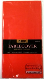 """Picture of Fiesta Party Plastic Table Cover - Apple Red Color54"""" x 108""""- Item No.ams-77015-40-tc"""