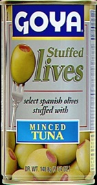 Picture of Goya Manzanilla Olives Stuffed with Tuna 5.25 oz - Item No. goya-1490