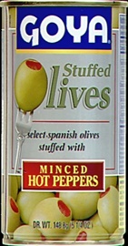 Picture of Goya Manzanilla Olives Stuffed with Hot Pimiento 5.25 oz - Item No. goya-1492