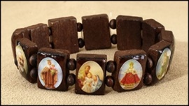 Picture of Wooden Religious Bracelet - Bracelet with medals - Item No. hc673