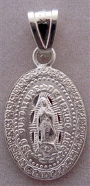 Picture of Medalla de Plata Virgen de Guadalupe - Our Lady of Guadalupe Silver Medal - Medium Oval - Item No. mee-cs02