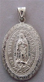 Picture of Medalla de Plata Virgen de Guadalupe - Our Lady of Guadalupe Silver Medal - Large Oval - Item No. mee-cs03